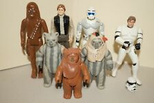 Vintage Star Wars Action Figure Lot: 1977 Chewbacca, Han Solo, Ewoks, Kenner LFL
