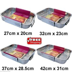 NEW 4PC SET STAINLESS STEEL ROASTING TRAY OVEN BAKING ROASTER TIN 48Hour Service