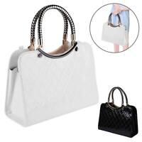 New Ladies Black Leather Handbag New Tote Designer Style Celebrity Shoulder Bag.