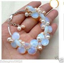 "Exquisite Moonstone Fresh Water Pearl bracelet 7.5"""