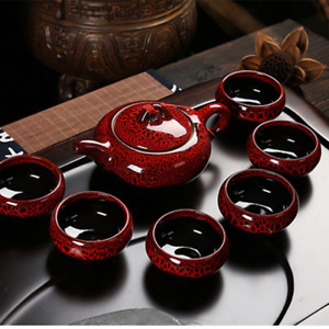 Tea Set Tea Pot with 6 Tea Cups Chinese Kung Fu Ceramic Red Glaze Tea Infusers