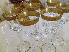 "IDEAL ""WEDDING GIFT2  SIX VALUE £100 CRYSTAL 24 crt GOLD RIMMED GLASSES"