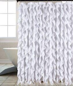 Waterfall Shabby Chic Ruffled Fabric Shower Curtain
