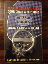 Strike Plate Lock Security Door Chain New, Nickel Finish, Avail. in 3 colors