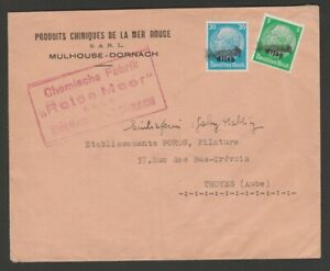 German occupation Alsace censored cover provisional Dornach handstamp & cachets