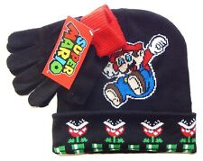 SUPER MARIO BROS NINTENDO Boys Black Knit Winter Beanie Hat & Gloves Set NWT $24