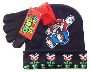 SUPER MARIO BROS NINTENDO Boys Black Knit Winter Beanie Hat & Gloves Set NWT