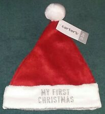 "NEW Carter's Newborn  0-3 Months Baby ""MY FIRST CHRISTMAS"" Santa Cap (Hat)~NWT"