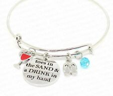 TOES IN THE SAND & A DRINK IN MY HAND CHARMS SILVER BANGLE BRACELET HOLIDAY GIFT