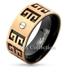 FAMA Two Tone Maze Bolt Stainless Steel Black & Rose Gold IP Ring Band Size 9-13