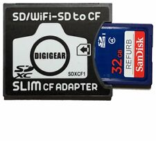 32GB Sandisk refurb SD W/ SD to SLIM CF Compact Flash Memory Card Adapter