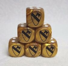 DICE>>16mm 1st CAVALRY PATCH *6* VELVET GOLD w/BLACK 1st CAV PATCH #1/WHITE PIPS