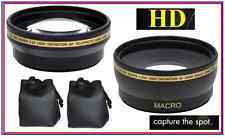 2Pc Lens Set Pro HD Wide Angle & Telephoto Lens Set for Canon Vixia HF M500 M400