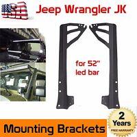 "52"" LED Light Bar Windshield Upper Mount Brackets For 2007-2018 Jeep Wrangler JK"