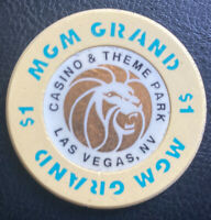 Old $1 MGM Grand Theme Hotel Casino Poker Chip Vintage BJ Mold Las Vegas NV 1993