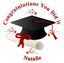 Graduation Cake Topper - Personalised Message - Congratulations - Edible Icing