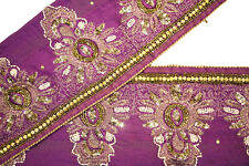 Vintage Indian Trim Ribbon Saree Border Embroidered  Deco Craft by The 1 Yd