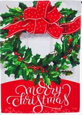 NEW EVERGREEN DOUBLE SIDED GARDEN FLAG MERRY CHRISTMAS BOW & WREATH 12.5 X 18