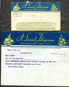 Canada 1950 CP Telegram Cover. Contents. HMCS Cayuga. Korean War     (inv:p0956)