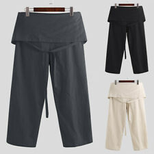 Men's Loose Thai Yoga Pants Baggy Fisherman Trousers Linen Style Aladdin Pants