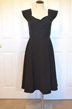 Simple Retro Women's Vintage Looking Swing Cocktail Dress Black Size S