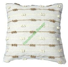 Shaggy Striped Pattern Cushion Covers Throw Decorative Handknotted Pillow Cases