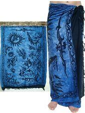 NEW UNISEX MENS WOMENS BLUE BLACK SARONG BEACH WRAP SWIM PAREO COVER UP / sa011