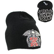 Biker Ride Or Die Skull Sensenmann Beanie Wintermütze Ski Mütze Wollmütze NEU