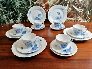 Royal Copenhagen Blue Flower Polished - Noble 18 Piece Coffee Service 6 Pers