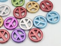 50 Mixed Metallic Colour Acrylic Peace Sign Beads Charms 20mm Jewelry Making