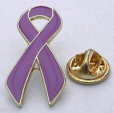 Purple Awareness Ribbon Lapel Tie Hat Cap Pin Badge Bow Brooch
