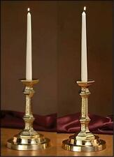 "Catholic Altar Candle Holder Brass Set 9 1/4""H x 6""D Base x 7/8"" Dia. Socket"