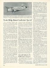 1953 Aviation Article Lockheed Lodestar Modified by Lear Glide Tests Airplane