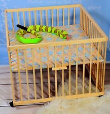 Baby Playpen Height Adjustable Padded Base Natural Wood 105 x 98cm Large New