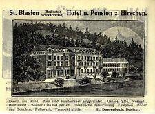 H. Dossenbach st. Blasien hôtel pour cerfs historique la publicité de 1905