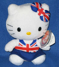 TY HELLO KITTY UNION JACK DRESS BEANIE BABY - MINT TAGS - UK EXCLUSIVE