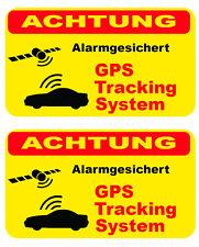 2x Aufkleber Alarm gesichert GPS Tracking System Auto Diebstahlschutz aussenkl.