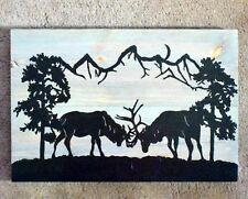 Handmade Reclaimed Wood Pallet Sign Stags Rutting Theme Wall Hanging Plaque