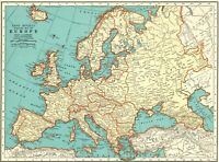 1935 Antique Europe Map Vintage Collectible Map of Europe Gallery Wall Art 8277