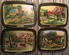 4 Seasons 1868 Currier and Ives Collect Metal Tin Trays TV Dinner Trays 15 x 11""