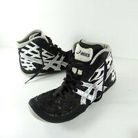 Asics Mens size 7.5 Split Second Black Silver Wrestling Shoes J203J Black Silver