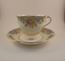Colclough Footed Cup & Saucer Pale Green Rim W/Multicolor Flowers Bone China