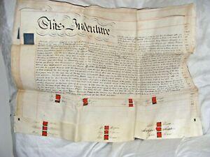 ANTIQUE INDENTURE 1825 DEED VELLUM 4 PAGE DOCUMENT PEMBERTON VAUGHAN JONES