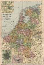 BENELUX. Holland and Belgium. Inset Amsterdam Brussels Antwerp. BACON 1893 map