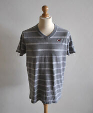 Mens Hollister Grey V Neck Striped Short Sleeve T-Shirt Casual Jersey Size XL