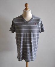 Mens Hollister Grey V Neck Striped Short Sleeve T-Shirt Casual Jersey Size XL