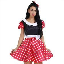 Sexy Adult Women's Minnie Mouse Polka Dot Costume Halloween Outfit Fancy Dress