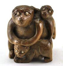 "3"" Vintage Chinese Natural Wood Hand Carved Three Monkey Mom kid Figurine Statue"