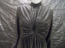 Women's Vintage 1960's Metallic Gunmetal Gray Maxi Gown, Size M, Pre-Owned