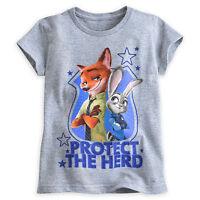 Disney Store Zootopia Judy Hopps & Nick Wilde Girls T Shirt 2/3 4 5/6 7/8 10/12